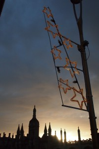 Christmas lights and a Cambridge skyline at sunset - lovely.