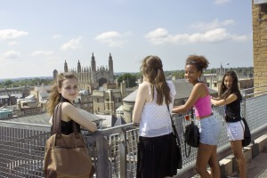 The group went up high to get the best views of Cambridge!