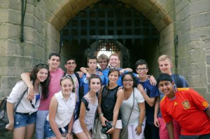 Students at the gates of the Castle