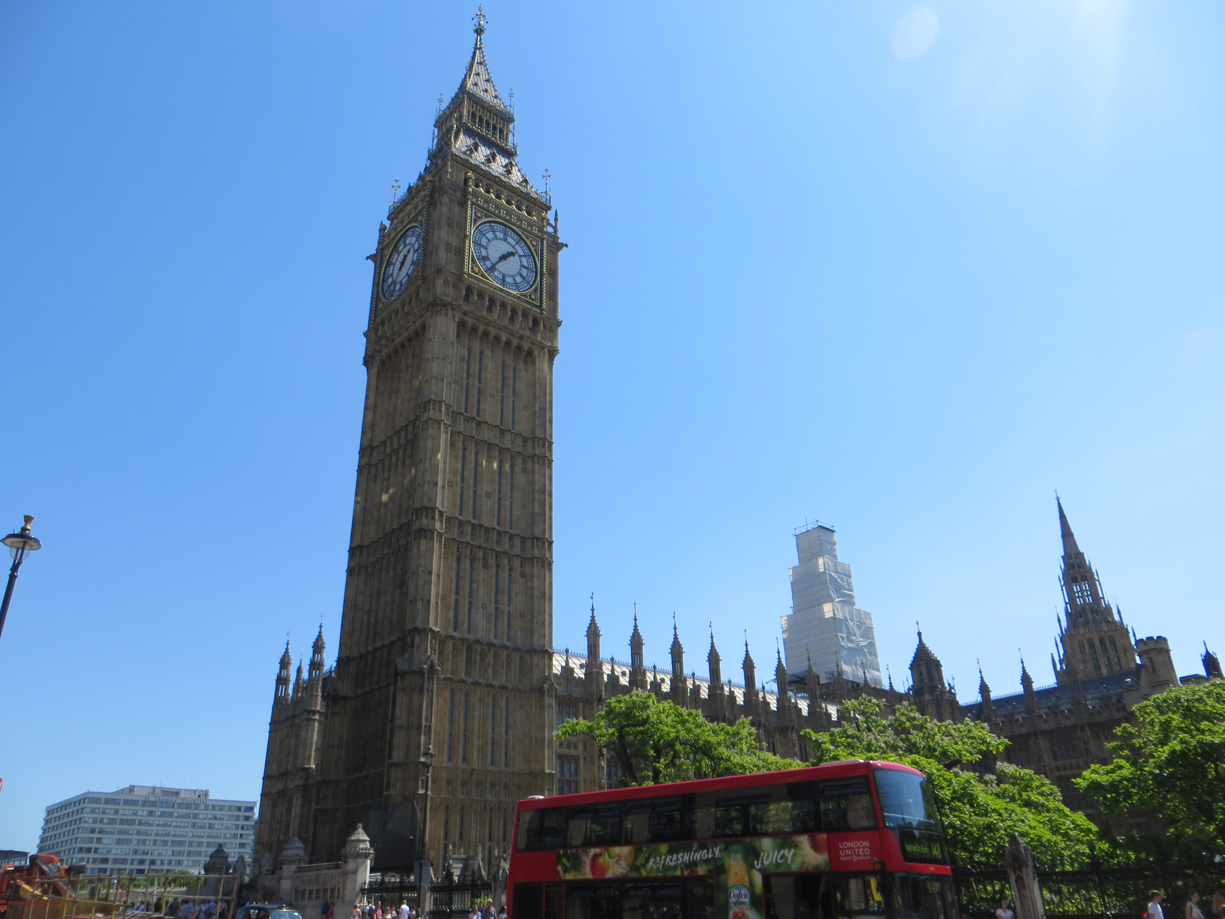 Big Ben (and a red London bus passing by!)