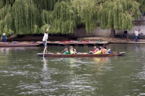 Some of the staff enjoying their punting tour on the lovely river Cam