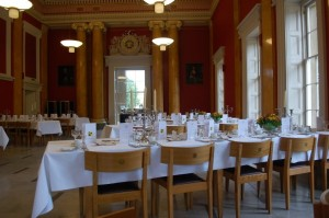 Downing College Dining Hall, set up for a formal dinner.