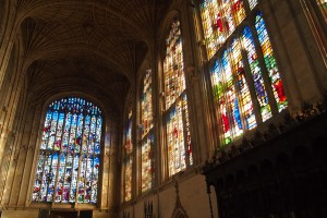 Stained glass windows in King's Chapel